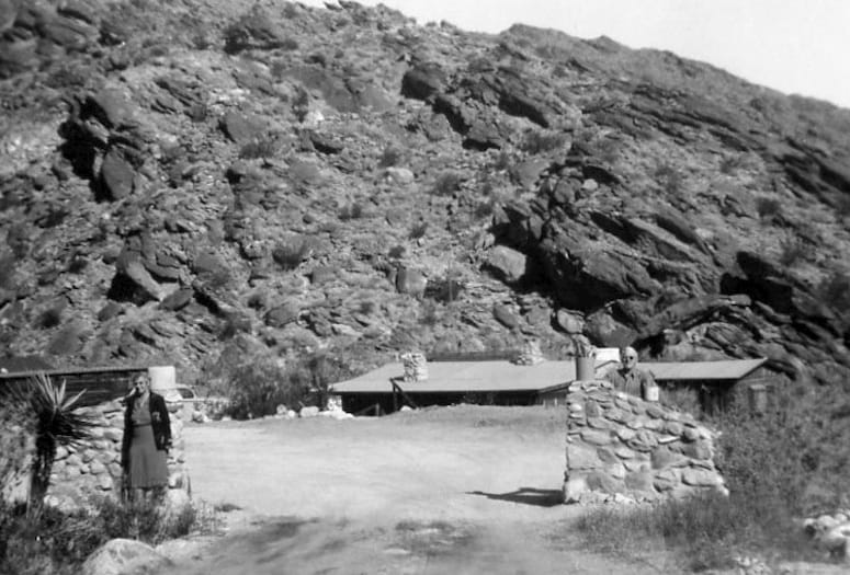 1930, Fred Clatworthy and his wife at their home at the top of West Ramon Road, Palm Springs.