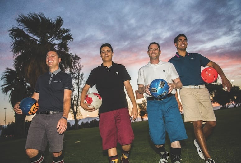 footgolf players on field