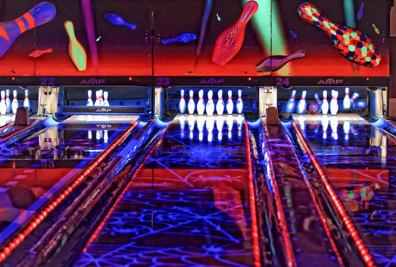 Lasers Light Up Fantasy Springs Bowling Center