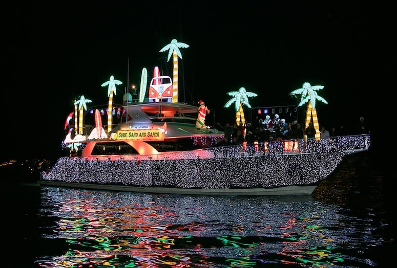 Holiday Lights Glimmer on Waters of Newport Beach