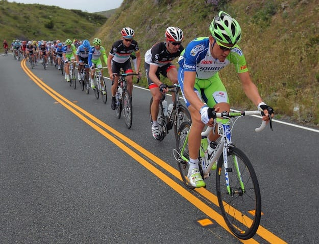 Racers on Amgen Tour of California course.