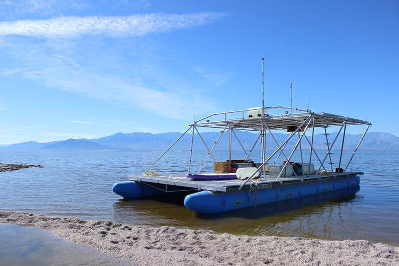 """Terminal Lake Exploration Platform"" - Steve Badgett & Chris Taylor, Desert X 2019. Photographed by Nalani Hernandez Melo"