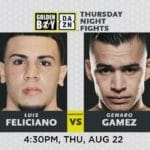 Luis Feliciano Faces Genaro Gamez in Super Lightweith Show Down of Thursday Night Fights at Fantasy Springs