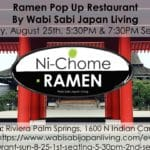 Ramen Pop Up Restaurant Sunday 8/25 5:30PM & 7:30PM at Riviera Palm Springs