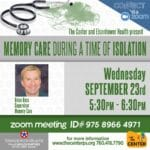 Zoom Event: Memory Care During A Time of Isolation Presented by The Center and Eishenhower Health