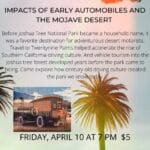 Virtual Event: Impacts of Early Automobiles and The Mojave Desert