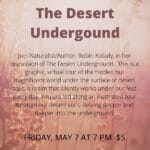 Virtual Event: The Desert Institute Presents The Desert Underground