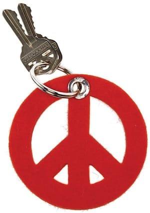 peacesignfeltkeyfob