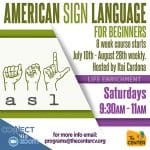 Zoom Event: American Sign Language for Beginners (ASL-1) by The Center in Palm Springs